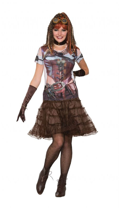 3D Tee Shirt Steampunk Gal Costume Steam Punk Victorian Adventurer Fancy Dress